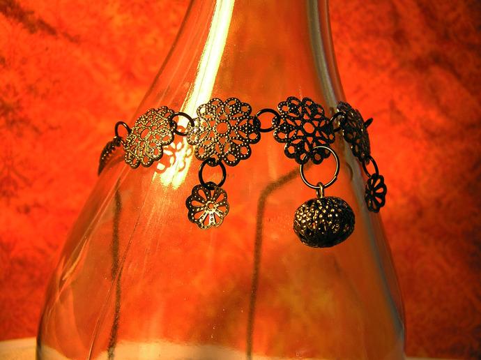Gunmetal Choker necklace with florasl metal details