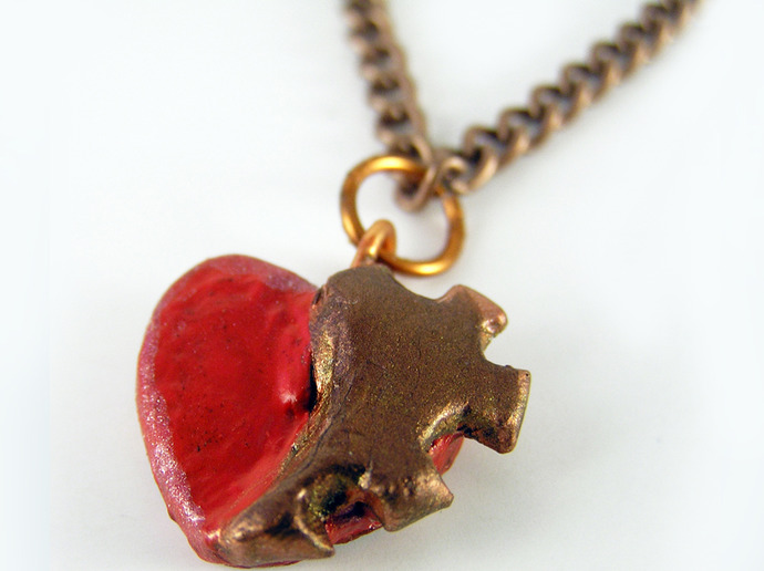 Red Steampunk heart pendant with copper clockwork gear detail