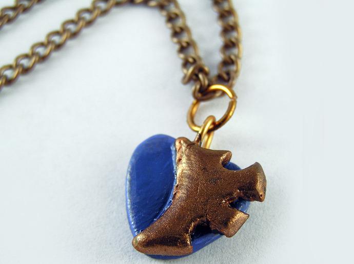 Blue Steampunk Heart Pendant with clockwork copper gear detail