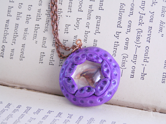 Victorian mushroom illustration pendant in purple and orange