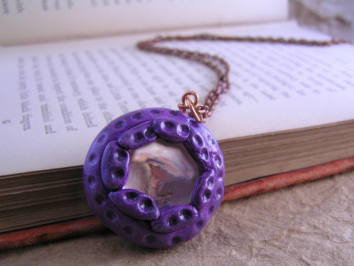 Victorian mushroom illustration pendant in purple and orange