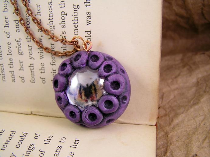 Purple butterfly pendant with vintage illustration