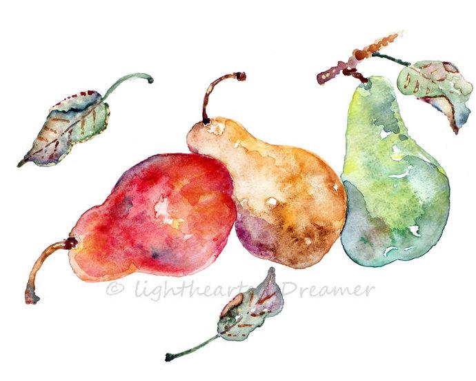 Kitchen Decor, Pear Painting Print,   LightheartedDreamer