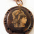 Victorian woman illustration cameo pendant with steampunk frame