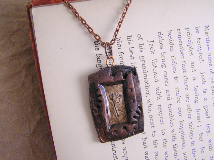 Victorian Game illustration Pendant with steampunk gears frame