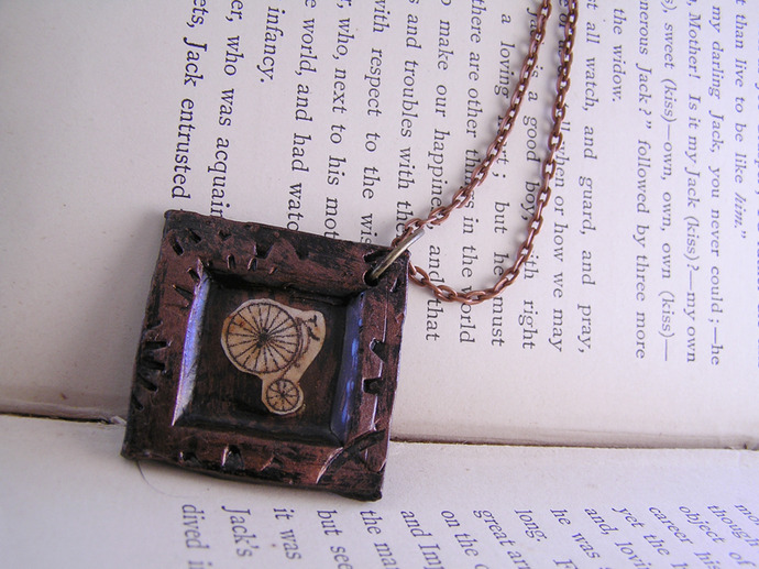 Victorian Bicycle illustration Pendant with steampunk clockwork gears frame