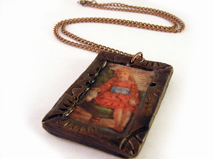 Vintage tonic ad pendant with steampunk frame