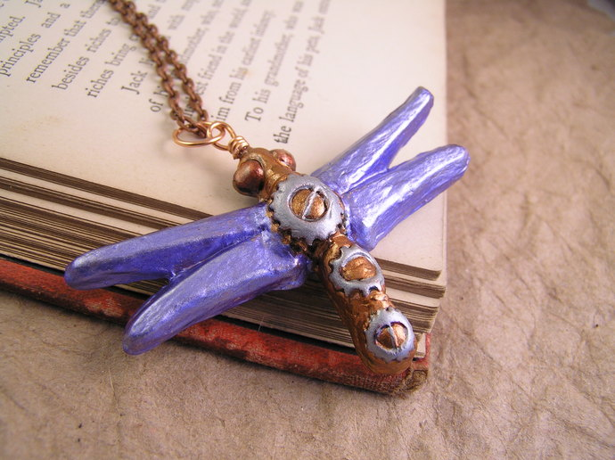 Shimmering Periwinkle dragonfly pendant with steampunk gears