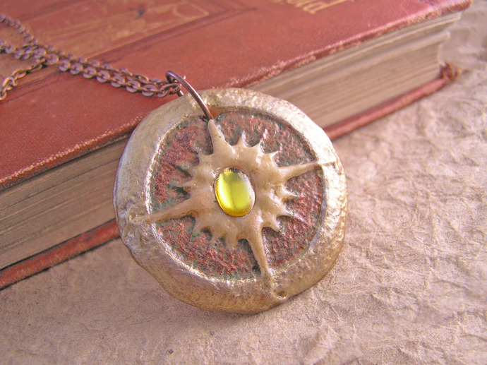 Steampunk Glow in the Dark Compass Pendant with yellow jewel center