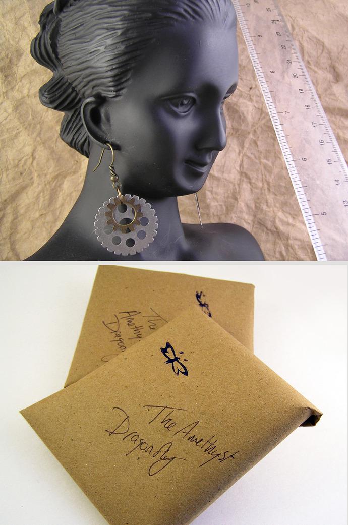 Nickle silver and brass Steampunk Gears earrings
