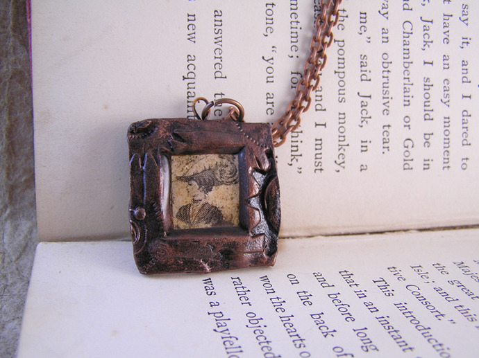 Victorian Cameo Steampunk Pendant with gears frame
