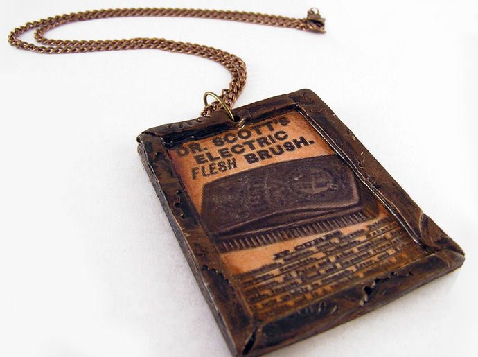 Victorian Ad steampunk pendant with Dr. Scott's Electric Fleshbrush vintage ad