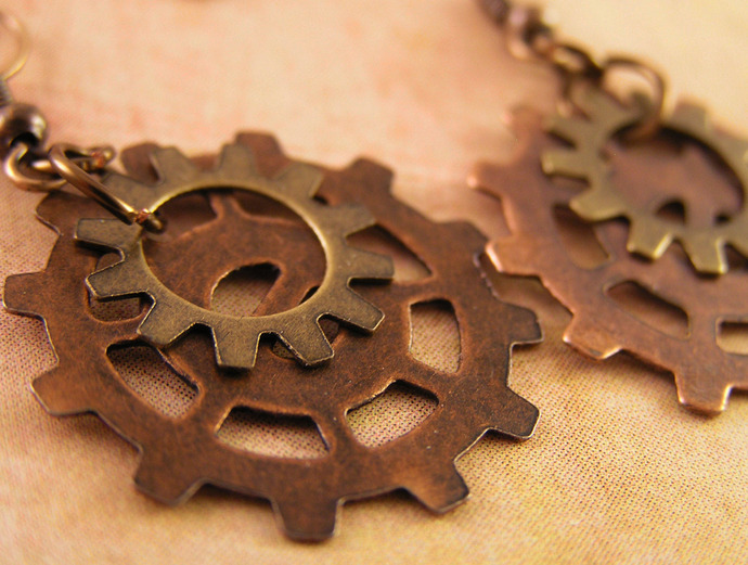 Steampunk Copper and brass Gear earrings