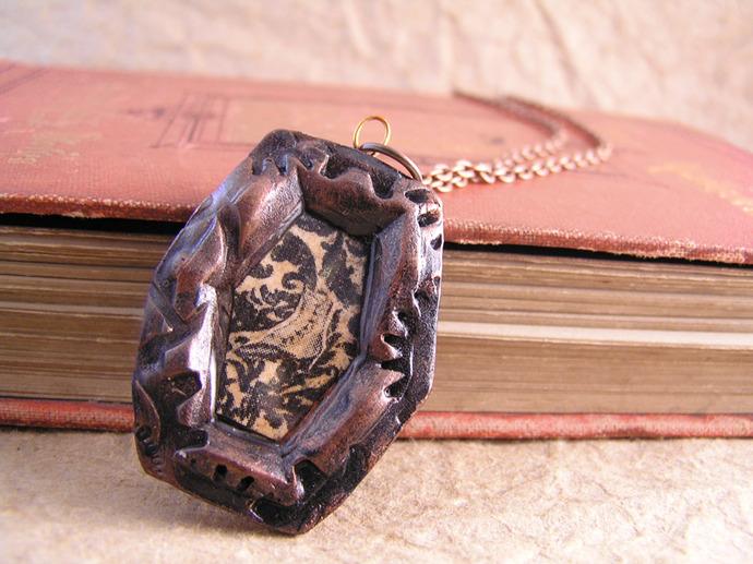 Victorian boot illustration steampunk pendant