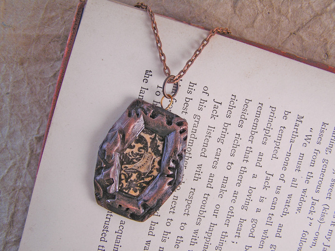 Victorian boot illustration steampunk pendant