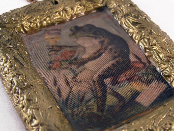 Vintage illustration Frog  pendant in gold colored frame