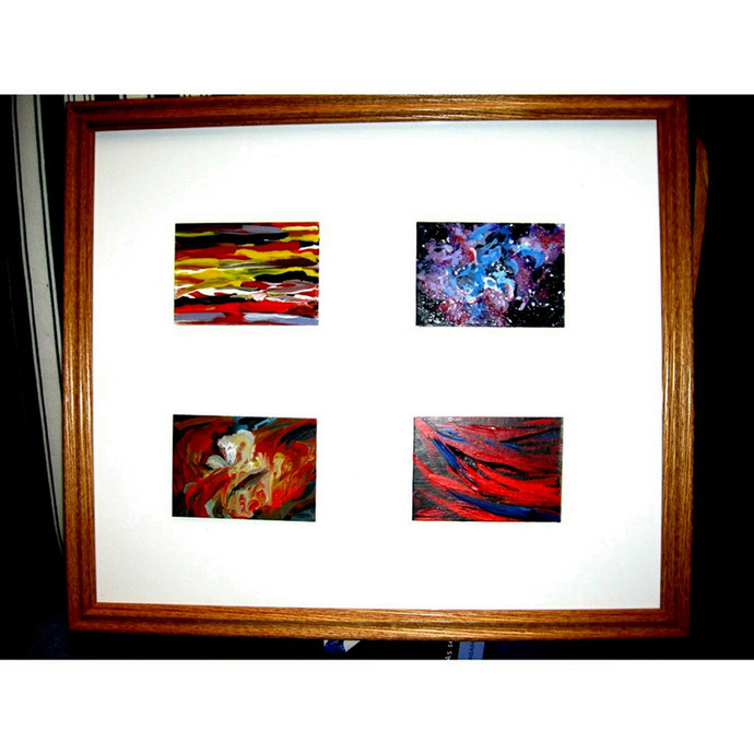 Four Framed Abstract ACEOs