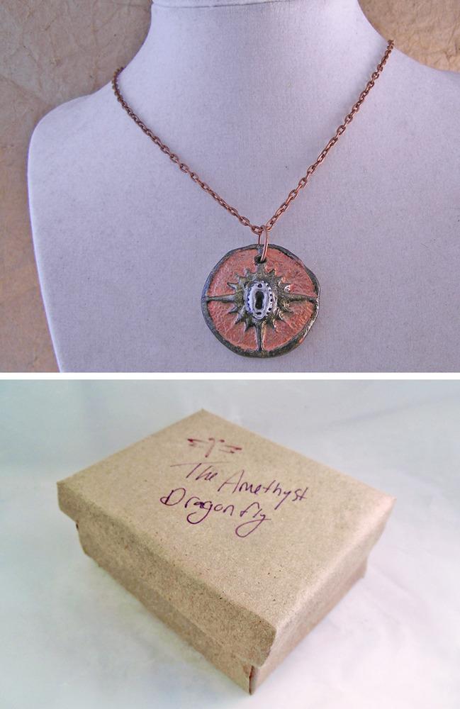 Steampunk compass pendant in copper and silver finish