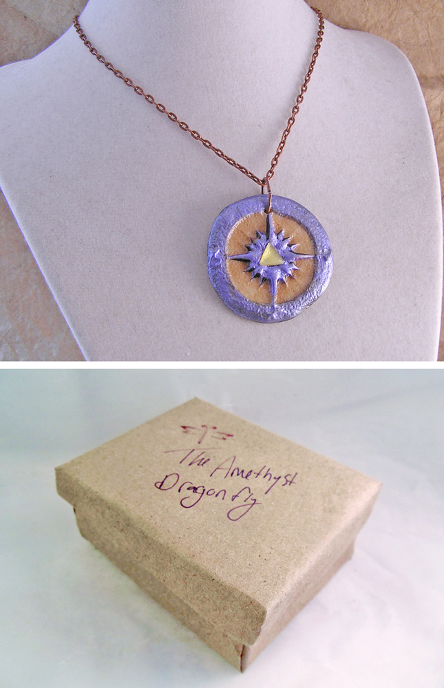 Blue Compass steampunk pendant with Glow in the Dark effect