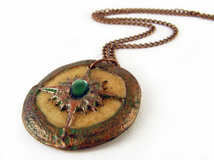 Steampunk Compass glow in the dark pendant with green center