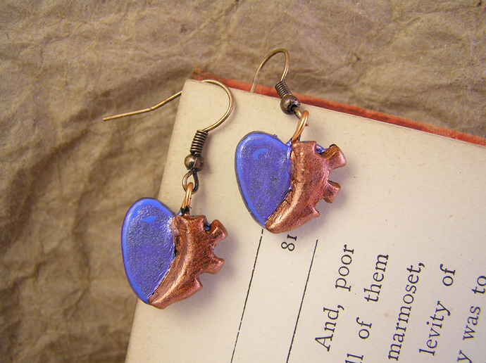 Gear Heart steampunk blue earrings with clockwork detail