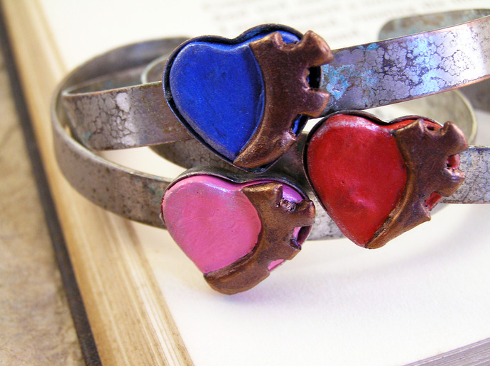 Red Steampunk Cuff gear heart bracelet