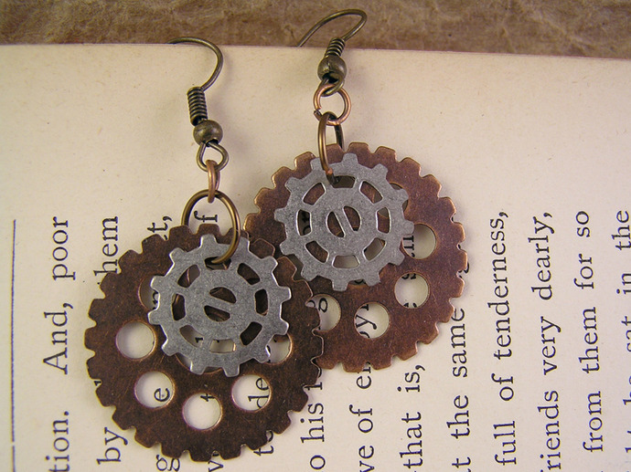 Clockwork earrings with copper and nickle silver steampunk gears