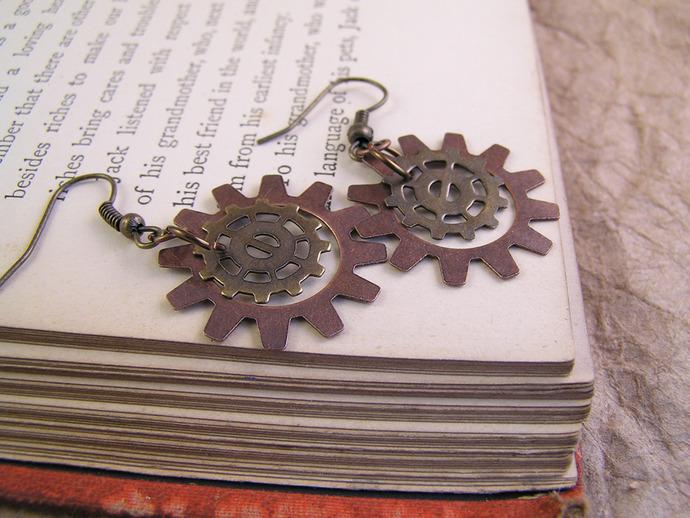 Steampunk clockwork Gear earrings in copper & brass
