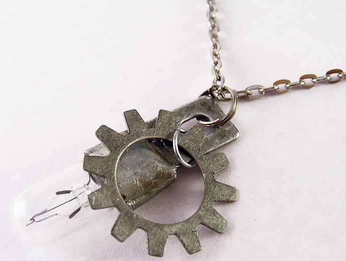 Steampunk clockwork  lightbulb necklace