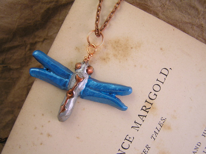 Shimmering Teal dragonfly pendant, mini size with steampunk watch pointer detail