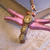 Shimmering pink Dragonfly Pendant with steampunk style
