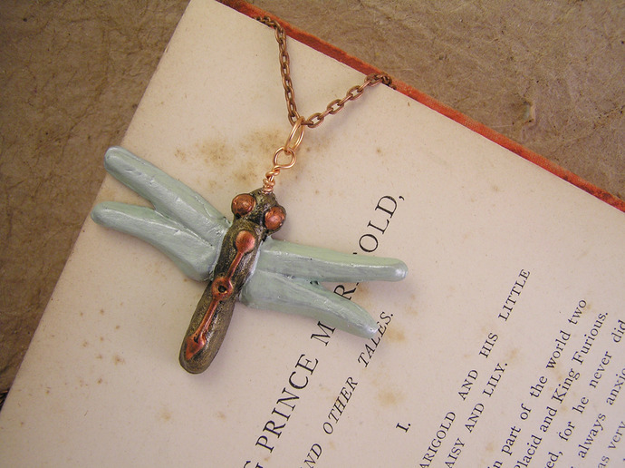 Green shimmer dragonfly pendant with steampunk details