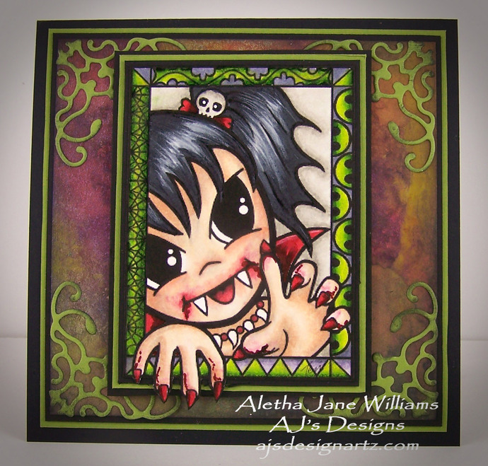Halloweenie Vamp OOAK Halloween Handmade Big Eye Art Greeting Art Card