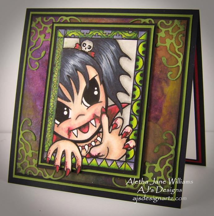 Halloweenie Vamp OOAK Halloween Handmade Big Eye Art Greeting Art Card