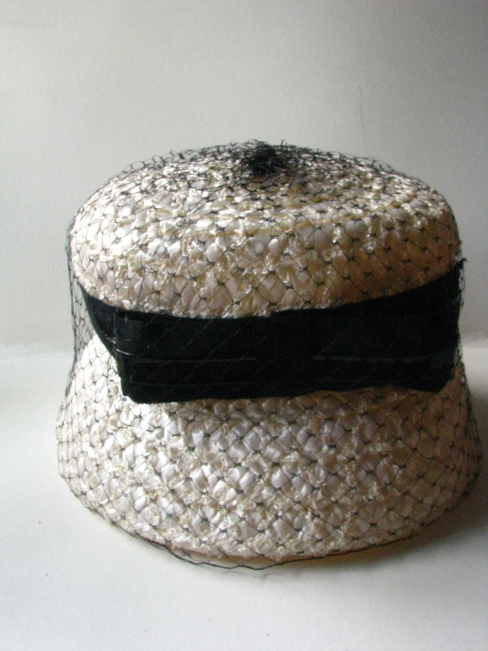 Woman's Vintage Hat, Beige Raffia Top Hat covered in Black Netting and a Black