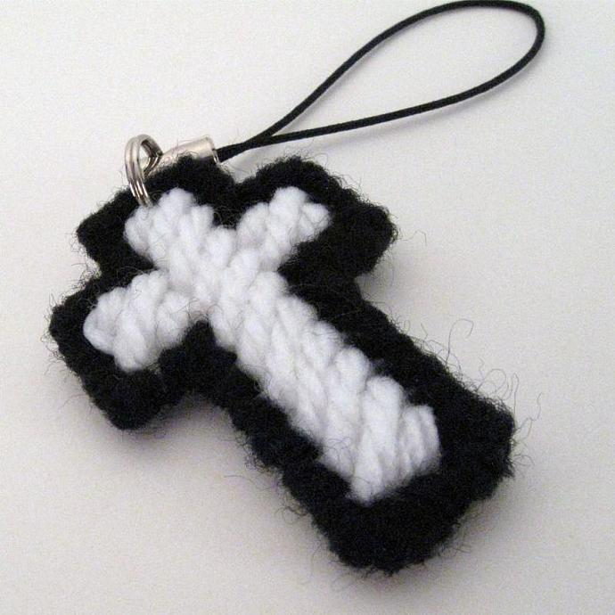 Two Cross Charms in Black and White