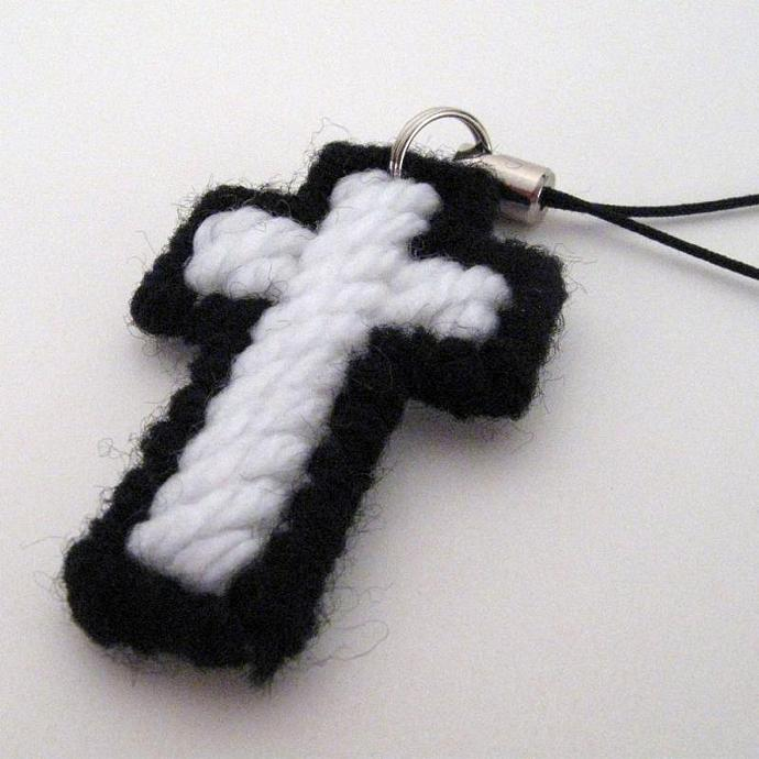 Cross Charm in Black and White