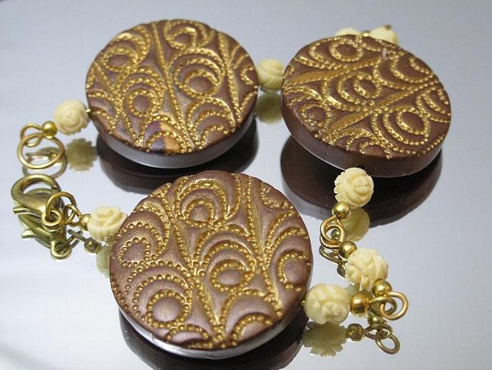 Brown and Gold Medallion Bracelet