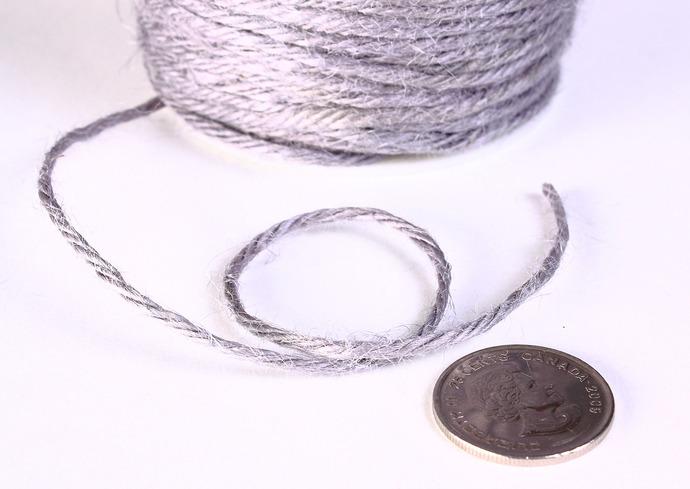 2mm Grey gray colored Hemp Cord - 10 feet - Packaging string - Macrame hemp cord