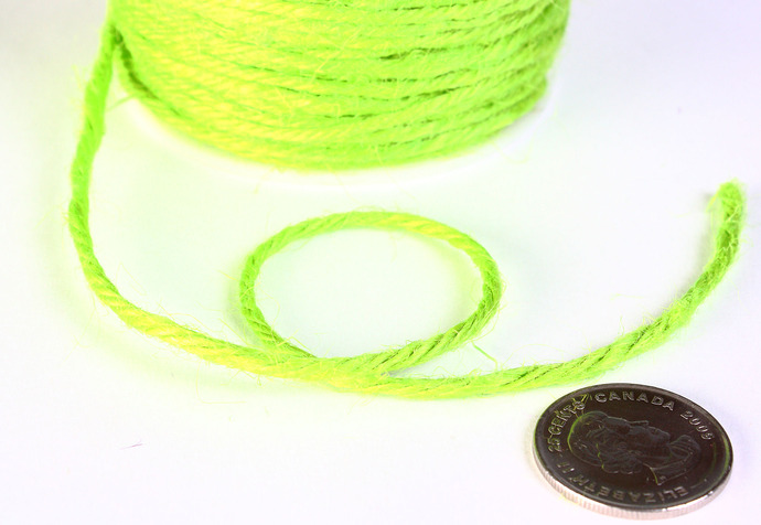 2mm Green colored Hemp Cord - 10 feet - Packaging string - Macrame hemp cord -