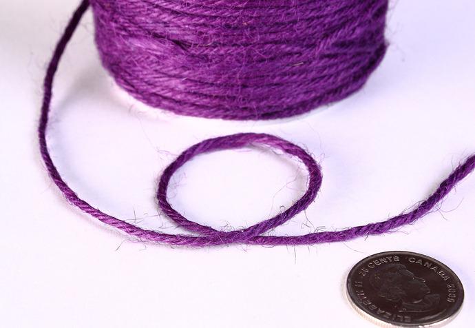 2mm Purple colored Hemp Cord - 10 feet - Packaging string - Macrame hemp cord -