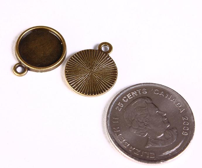 10 pieces - 12mm tray Pendant cabochon settings antique brass antique bronze