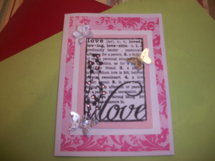 Handmade Pink Love Card with Butterflies and Rhinestones