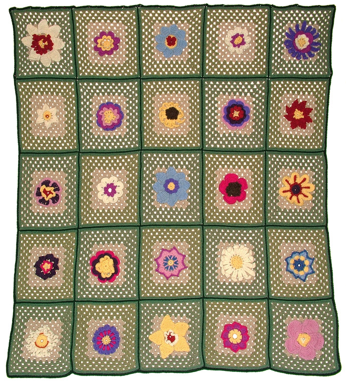 25 Flower Patterns Crochet Afghan Rug PDF Ebook - Instant Download Patterns