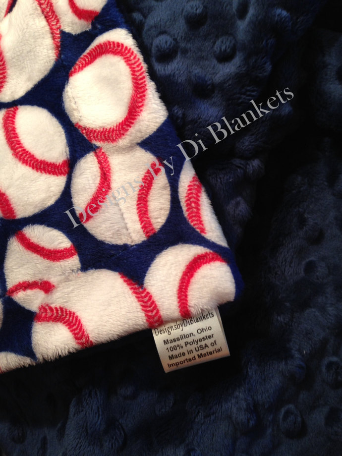 Toddler MinkyToddler  Blanket Baseball on Navy  Navy Minky Dot Back   Toddler or