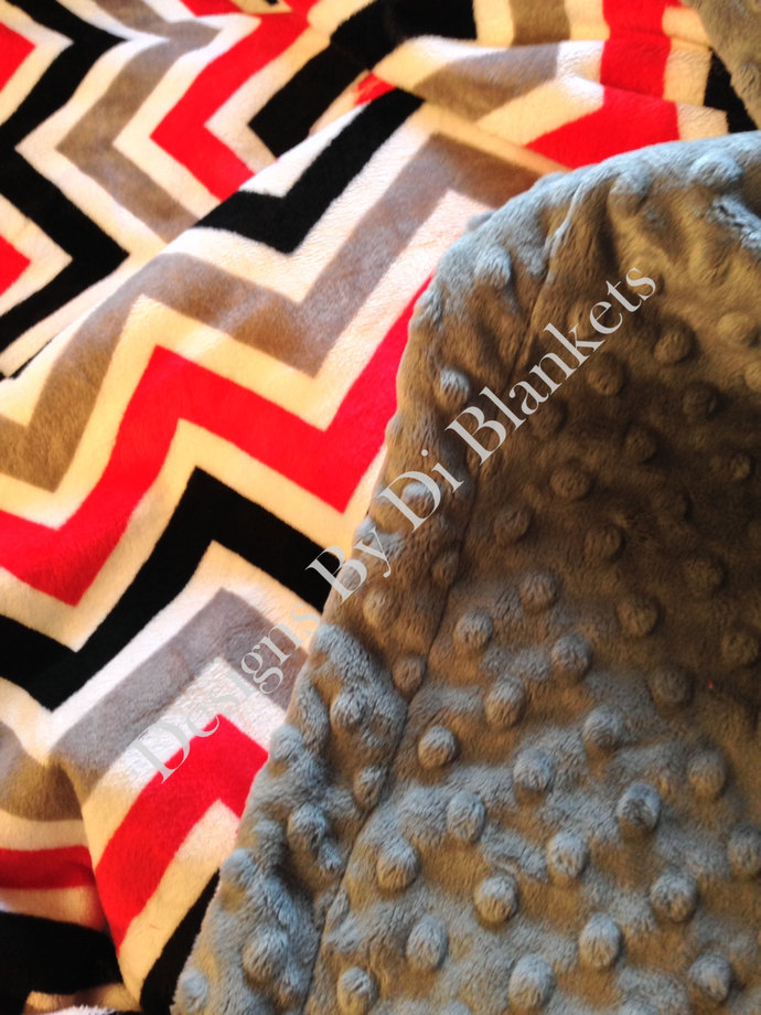 Minky Chevron Blanket Red Grey  Black  with Grey Dot Back   Adult  50 x 60