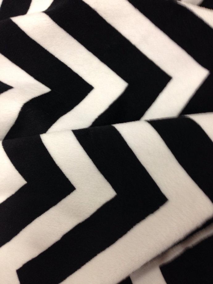 Minky Baby Blanket Black Chevron.Black Minky Dot Back  Infant size 29x36