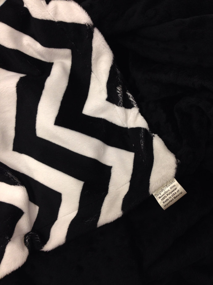 Minky Baby Crib Blanket Black Chevron Black Miinky Dot Back. Crib Size  Crib  36