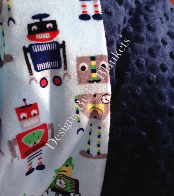 Toddler Robot Minky  Blanket , Minky Dot Back  Green Navy Yellow Red   Toddler