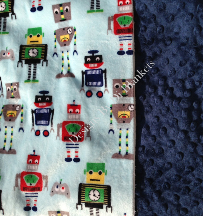 Minky Baby Blanket Blue Robot Blanket,  Green Navy Yellow Red   Car Seat